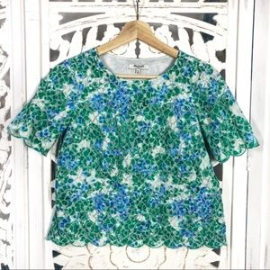 Madewell Scalloped Floral Cropped Top